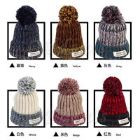 Fashion Beanie Wooly Winter Men Women Ladies Knitted Ski Pom Pom Warm Hat