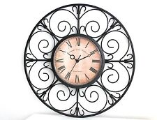 Medium Size Metal Wall Clock Home Decor Vintage Retro Country Style Gift 40 cm