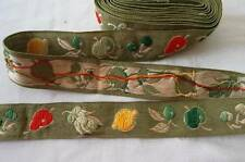 Vintage Green Veggies Embroidered Fabric Ribbon Trim Peas Red Fruit 3 Yards Cott