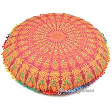 """Maroon Decorative Floor Pillow Cushion Cover Mandala- 32"""""""