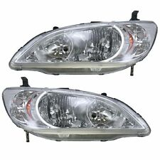 Honda Civic 04-05 Headlights Headlamps Pair Set Left & Right Lens & Housing