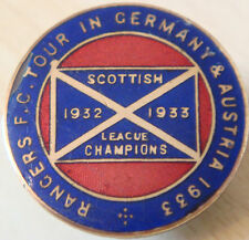 RANGERS 1933 TOUR OF GERMANY & AUSTRIA badge Maker FATTORINI GLASGOW button hole
