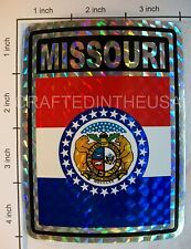 """Reflective Sticker Missouri State Flag 3x4"""" Inches Adhesive Car Bumper Decal New"""