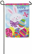 "EVERGREEN HAPPY SPRING EASTER BUNNY RABBIT WITH EGGS GARDEN FLAG 12""X18"" BANNER"