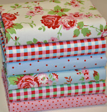 CATH KIDSTON IKEA ROSALI 6 x PATCHWORK FABRIC SCRAPS REMNANTS BUNDLE 100% COTTON