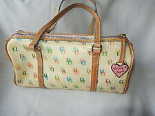 DOONEY & BOURKE MEDIUM CLASSIC SIGNATURE LOGO STYLE IVORY BEIGE BARREL HANDBAG