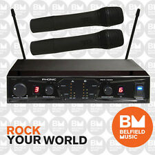 Phonic PCT-1000 Dual Wireless Microphone System UHF Channel Pro Live Autoscan w/