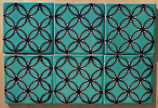 "12 Talavera Mexican Clay 4"" Tile pottery Turquoise Aqua Blue black Art Deco"