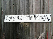 """Beautiful Hand Painted Rustic Wooden Sign """"Enjoy the little things"""""""