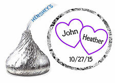 216 PURPLE HEARTS WEDDING FAVORS HERSHEY KISS LABELS ~ PERSONALIZED