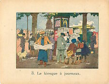Colonne Morris KIOSQUE JOURNAUX RAFFIN 1920 CHROMO CARD  IMAGE ECOLE BON POINT