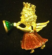 Gold Red Green Angel Trumpet Wings Christmas Lapel Pin Hat Brooch Jewelry #G6XB