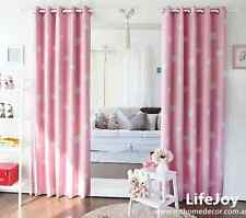 2 X Blockout Eyelet Curtains Pink Drapes Kids Baby Boy's Girl's Room 140cm -Pair