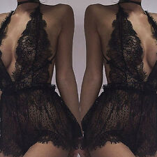 Sexy Women Ladies Plus Size Lace Babydoll Underwear Lingerie Dress Sleepwear M