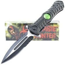Zombie Hunter! Action Assisted Stiletto Folder Knife NEW Biohazard Toxic Green