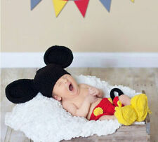 Newborn Baby Boy Girl Crochet Knit Mickey Mouse Theme Costume Photography Prop