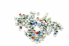 100pcs Crystal Gems Balls Replacement For Body Piercing Jewelry 1.2x3mm