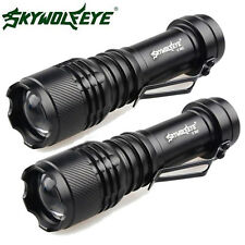 2Pcs Super Bright 6000LM XML Q5 LED Flashlight Zoomable 14500/AA Torch Lamp