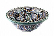 Fes alcazar en céramique marocain bathroom sink bassin peint à la main inside-out d 40cm