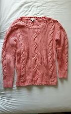 MONSOON CORAL ORANGE PINK CABLE KNIT JUMPER SIZE 8/10 BNWOT WINTER WARM CHUNKY