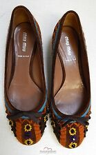 Miu Miu Brown Suede Leather Beaded Jeweled Ballet Flats Italy 36 US 5.5 M