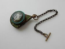 Brass & Enamel Classic Lady Diamante Pocket Fob Watch on Chain
