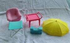 Lot of Vintage 1980s Barbie Furniture Pink Chair Umbrella Replacement Parts
