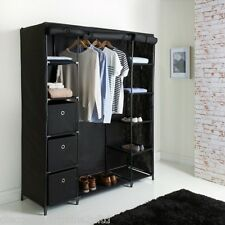 New Deluxe Large Canvas Wardrobe Black