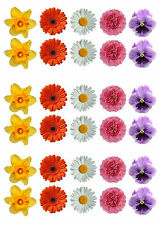 30 Beautiful Mixed SPRING Flowers Edible Wafer/Rice Paper Cupcake Toppers