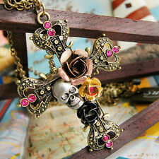 Women Fashion Cross Rose Rhinestone Floral Skull Head Pendent Necklace Jewelry