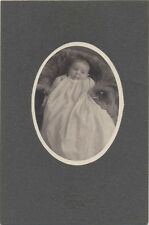 ANTIQUE OVAL PHOTO OF BABY WITH A BUZZCUT IN A LONG WHITE DRESS. PITTSBURGH PA.