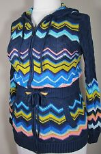MISSONI for TARGET CHEVRON STRIPE CARDIGAN SWEATER ZIP FRONT/HOODED LARGE NWOT