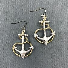 Silver Hammered Anchor Drop Dangle Style Gold Rope Sea Life Earrings