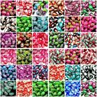40 Pcs - Two Tone Oval Glass Crackle Beads Jewellery 10mm x 8mm Many Colour ML