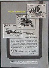 PUBLICITE JOUETS MAERKLIN TRAIN BATEAU ORSAT FRERES DE 1926 FRENCH AD GAME