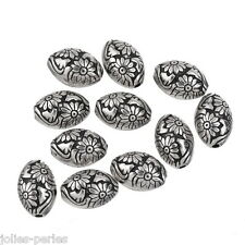 JP 10PCs Charms Antique Silver Plastic Beads Oval Flowers Jewelry Findings