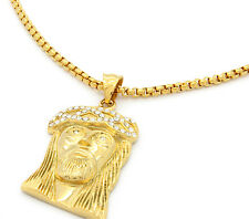 """Stainless Steel Gold Plated Big Jesus Medal Pendant 24"""" Round Box Necklace Chain"""