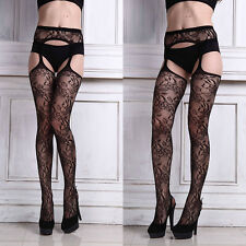 Sexy Ladies net Lace Top Garter Belt Thigh-Highs Stocking Pantyhose Lingerie NEW