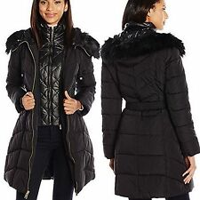$250 GUESS Coat Hooded Fur Trim Quilted Puffer Belted Jacket Coat Black size M