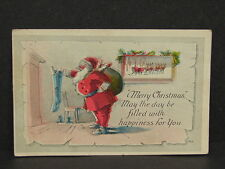 Antique Vintage Santa Claus Merry Christmas Artist Signed FHCW Post Card