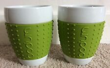Pair Bodum Pavina Porcelain Tea & Coffee Mugs Cups Green Silicone Rubber Grip