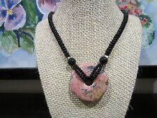 Stunning Big Natural Pink/Black Round Drop Pendant w/Necklace 20 IN 58 Gr.