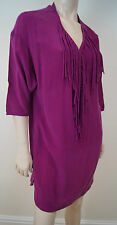 GERARD DAREL Women's Hot Pink 100% Silk Fringed Kaftan Tunic Dress Sz38 UK10