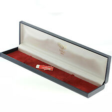 VINTAGE HEUER WATCH CASE / BOX DARK BLUE HARD BOX WITH HEUER TAG 9 INCHES LONG