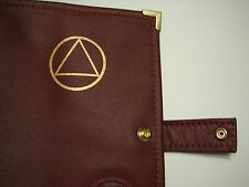 Genuine Leather AA Deluxe Alcoholics Anonymous Burgundy Book Cover Coin Token