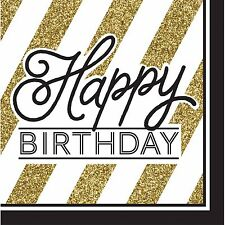 Black & Gold Birthday Party, 16 x Luncheon Happy Birthday Napkins, Adult Sparkle