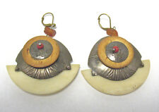 VINTAGE STERLING SILVER AMBER CORAL WOOD OPAQUE PLASTIC EARRINGS PIERCED TRIBAL