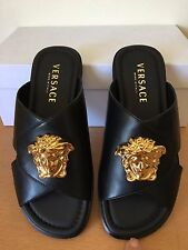 NEW $795 AUTHENTIC VERSACE MEDUSA BLACK LEATHER FLAT SANDALS SHOES SIZE 39.5