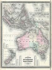 1870 JOHNSON MAP AUSTRALIA, EAST INDIES, SOUTHEAST ASIA POSTER ART PRINT 2955PY