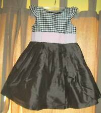 Gymboree Celebrate Spring brown pink gingham pleated silk dress toddler girl 3T